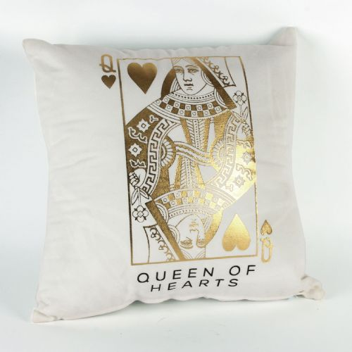 Queen of Hearts Playing Card White and Gold Cushion